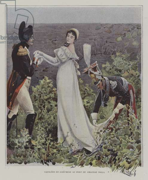 Napoleon and Josephine at the Chateau-Vieux, Bayonne (colour litho)