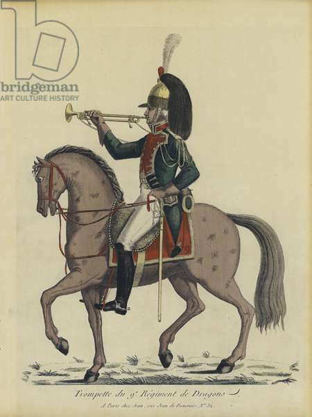 Trumpeter of the French 9th Regiment of Dragoons (colour litho)