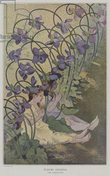 Fleurs Animees. Les Violettes. (Animated Flowers: Violets) (colour litho)