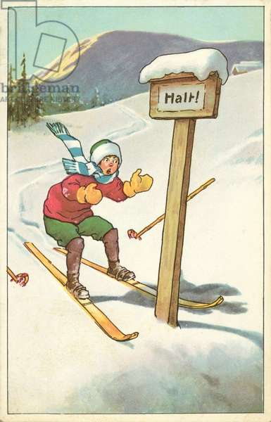 Alpine skier about to straddle a wooden signpost that says 'Halt' (colour litho)