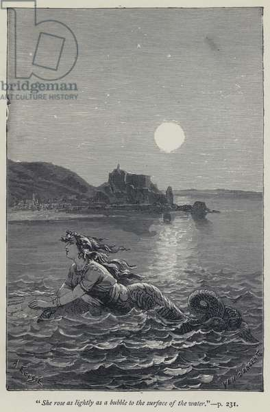 """""""She rose as lightly as a bubble to the surface of the water"""" (engraving)"""