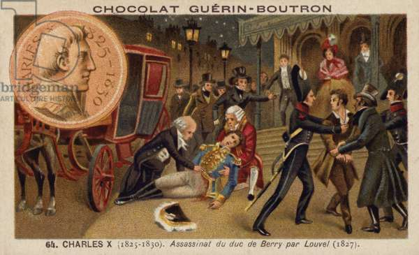 Assassination of the Duke of Berry by Louis Pierre Louvel, 1820 (chromolitho)