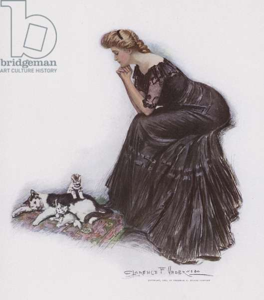 Woman watching a cat and her kittens (colour litho)