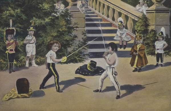 Two little boys fencing in uniforms (colour photo)