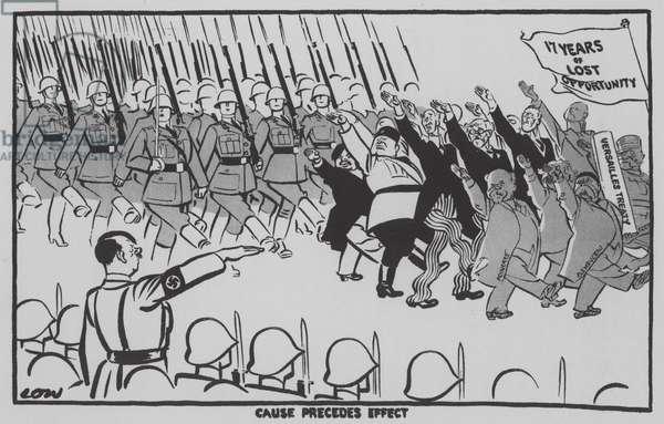 Cause Precedes Effect - Nazi leader Adolf Hitler saluting a passing parade (litho)