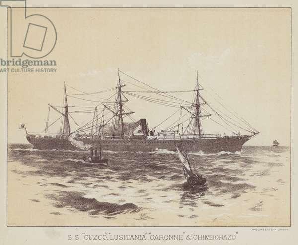 """SS """"Cuzco"""", """"Lusitania"""", """"Garonne"""" and """"Chimborazo"""" (litho)"""