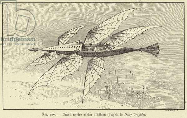 Grand navire aerien d'Edison (d'apres le Daily Graphic) (engraving)