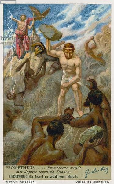 Prometheus and Zeus (Jupiter) battling the Titans (chromolitho)