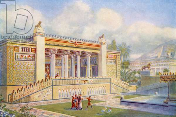Facade of the Palace of Darius at Persepolis bright with colour, movement and life (colour litho)