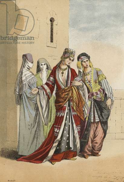 Turkish sultana and princess with their slaves, Middle Ages (chromolitho)