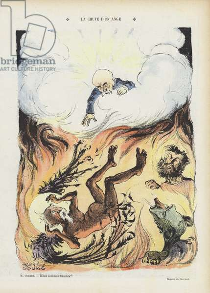 The fall of an angel. Illustration for Le Rire (colour litho)
