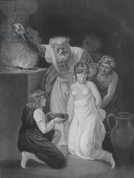 The Sacrifice of Jephthah's Daughter, Judges 11, Verse 20-40 (engraving)