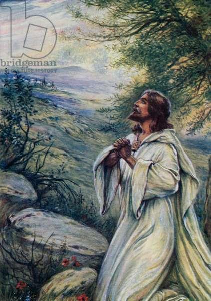 Jesus was praying (colour litho)