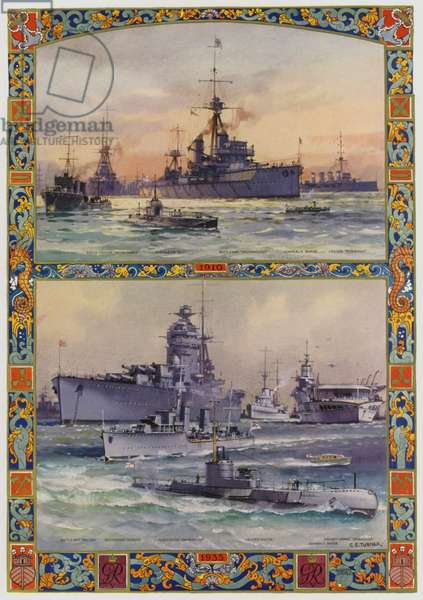 Types of British warships in 1910 and 1935 (colour litho)