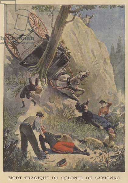 The tragic death of Colonel de Savignac (colour litho)