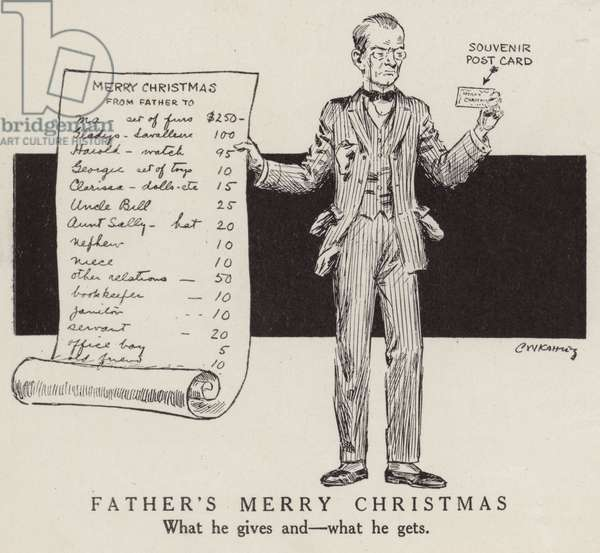 A father's generosity at Christmas is repaid with a souvenir post card (litho)