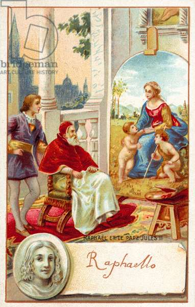 Raphael and Pope Julius II (chromolitho)