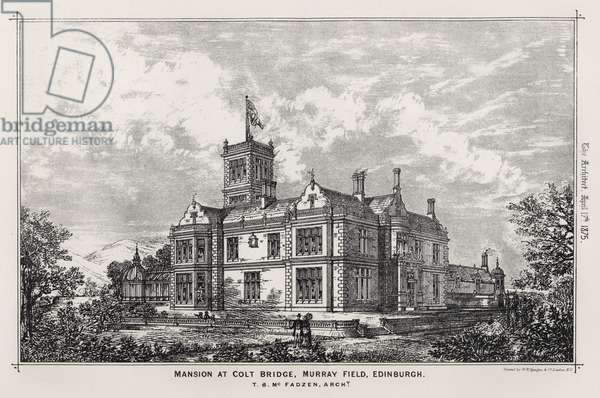 Mansion at Colt Bridge, Murray Field, Edinburgh (engraving)