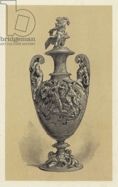 Vase in Silver Repousse Work, the subject representing Jupiter Warring with the Titans (chromolitho)