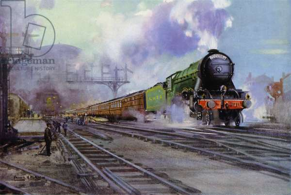 London and North Eastern Railway (LNER) Flying Scotsman express train hauled by a Class A1 Pacific locomotive leaving King's Cross Station, London (colour litho)