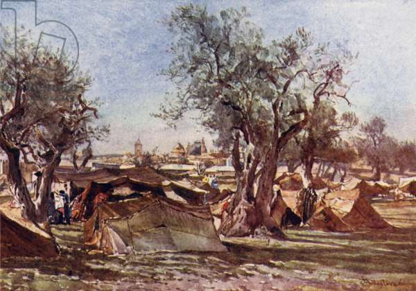 Bedouin Encampment outside the North Wall of Jerusalem (colour litho)