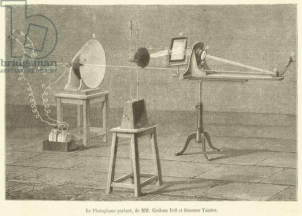 Le Photophone parlant, de MM Graham Bell et Summer Tainter (engraving)