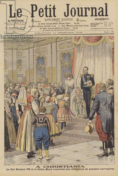 King Haakon VII and Queen Maud of Norway receiving a delegation of Norwegian peasants (colour litho)