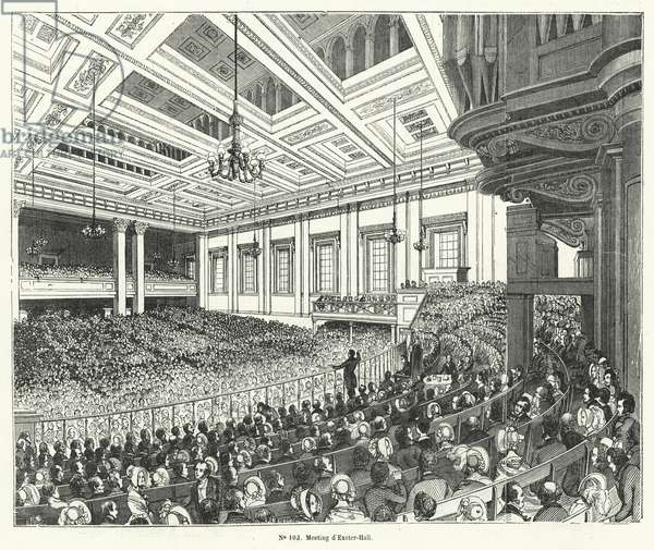 Meting of the Anti-Corn Law League in Exeter Hall, London, 1846 (engraving)