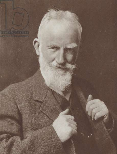 Irish playwright George Bernard Shaw, winner of the 1926 Nobel Prize for Literature (b/w photo)