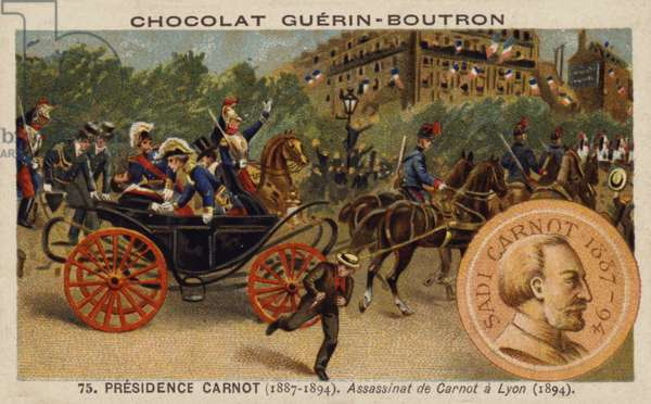 Assassination of President Carnot, Lyon, 1894 (chromolitho)