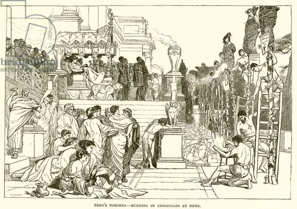 Nero's torches-Burning of Christians at Rome (engraving)