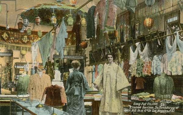 Kimono section, Sing Fat store, Los Angeles, California, USA (colour photo)