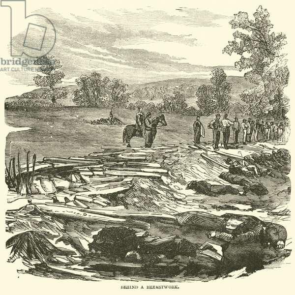 Behind a breastwork, September 1862 (engraving)