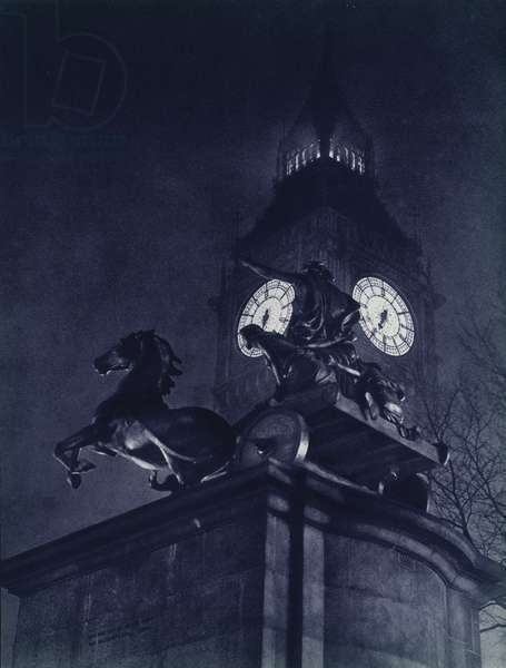 London at night: Statue of Boadicea and Big Ben (b/w photo)