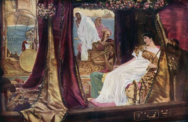 Cleopatra in her barge, from Shakespeare's Antony and Cleopatra (colour litho)