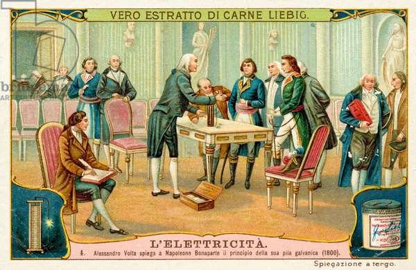 Alessandro Volta explaining the principle of his battery to Napoleon Bonaparte, 1800 (chromolitho)