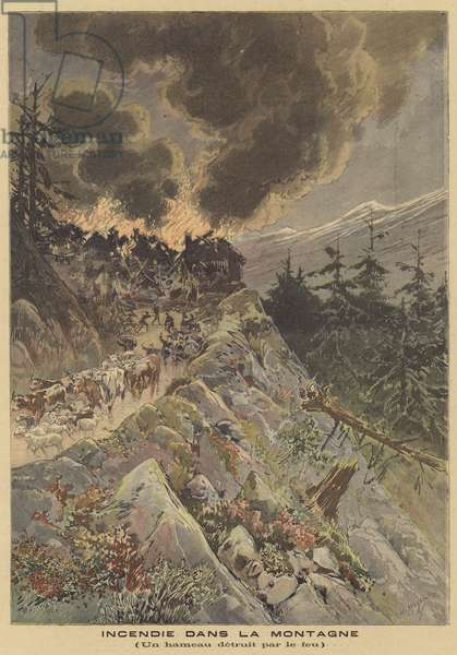 Fire in the mountains (colour litho)