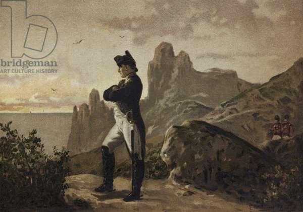 Napoleon in exile on St Helena, 1815-1821 (chromolitho)