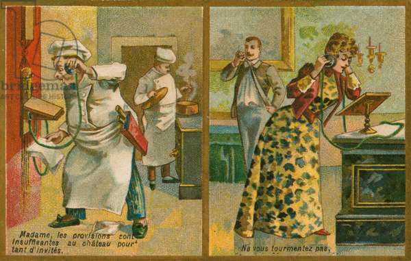 Postcard featuring telephone (chromolitho)