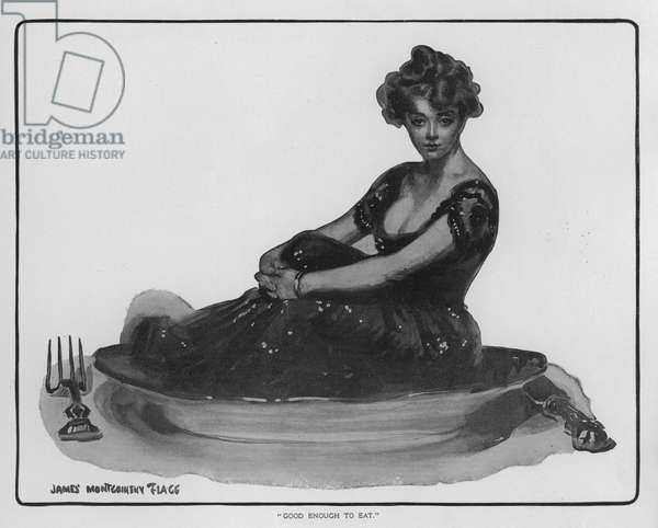 """""""Good enough to eat"""" - pretty girl sitting on a plate (litho)"""