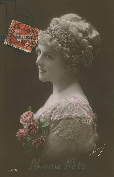 Bonne Fete. Postcard sent in 1913.
