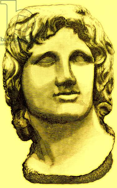 Bust of Alexander the Great, from the British Museum, statue in the Vatican, illustration from 'History of Rome' by Victor Duruy, published 1884 (digitally enhanced image)