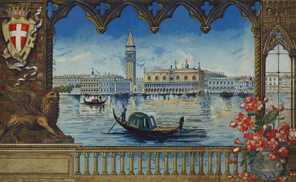 The Doge's Palace and Campanile, Venice (colour litho)