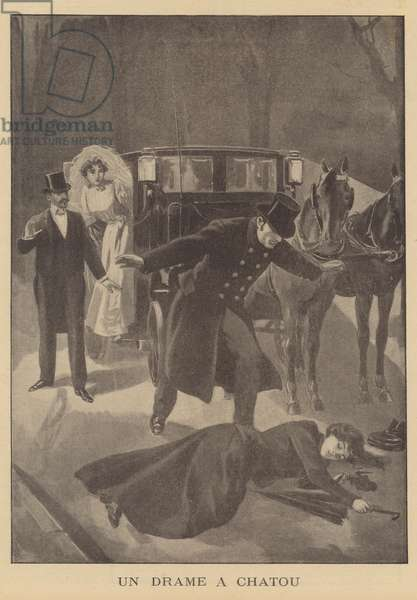 A murder at Chatou, Paris (litho)