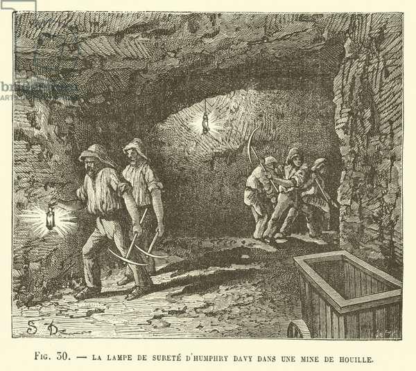 La Lampe De Surete D'Humphry Davy Dans Une Mine De Houille (engraving)