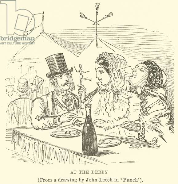 At the Derby, (From a drawing by John Leech in 'Punch') (engraving)