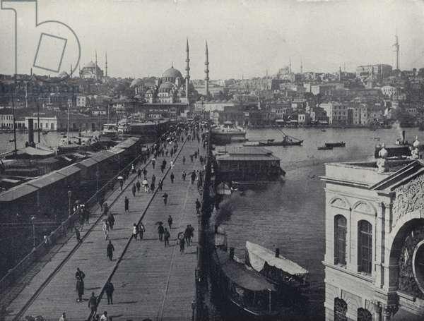 Galata Bridge, Constantinople, Turkey (b/w photo)