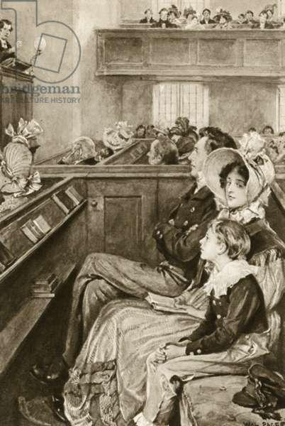 John Ruskin as a boy watching the preacher (litho)