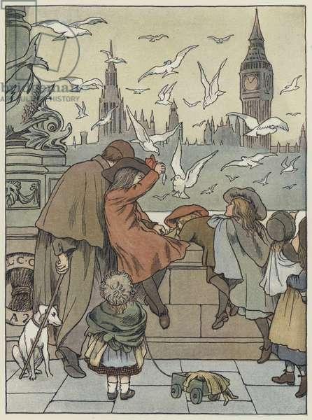 London: Feeding the Gulls (colour litho)