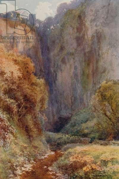 Peak Cavern Gorge, Castleton (colour litho)